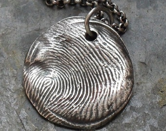 Round Fingerprint Custom Fine and Sterling Silver Necklace