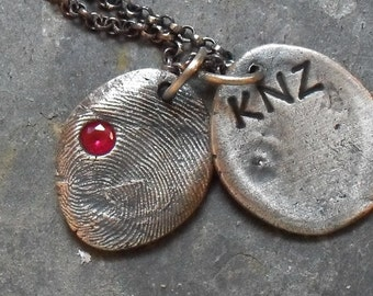 Custom Fingerprint Necklace with Birthstone - 1 Fine Silver Charm on Sterling Silver Rollo Chain