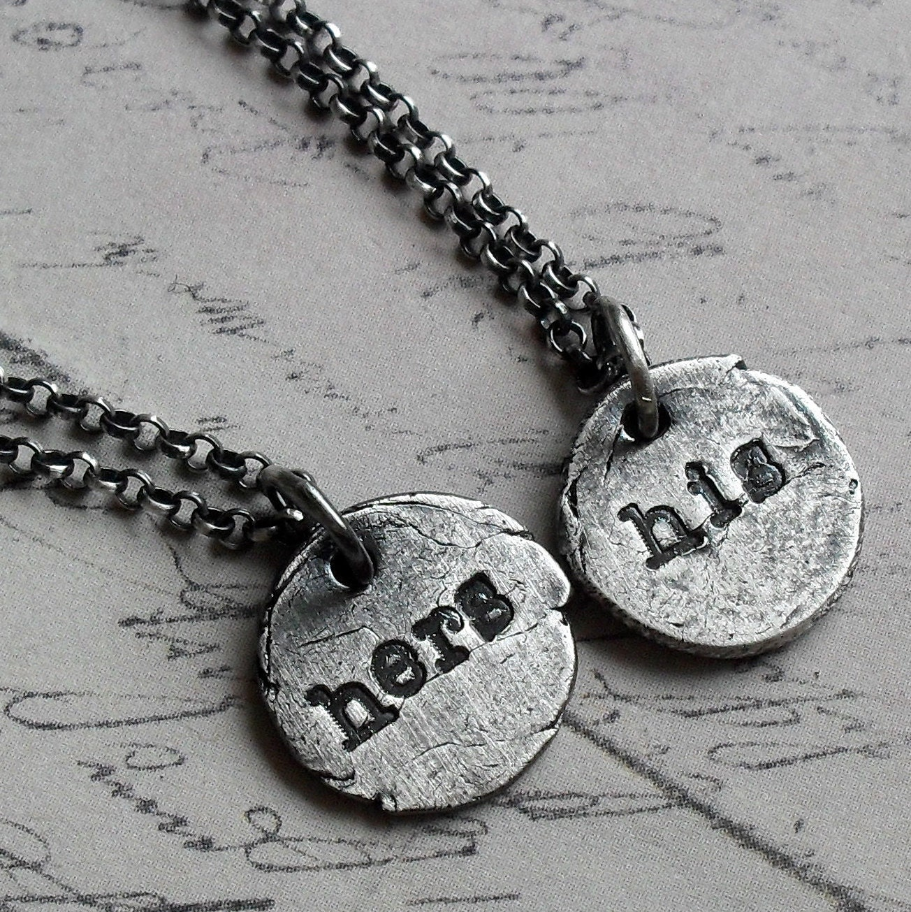 ready to ship his and hers necklace set in silver