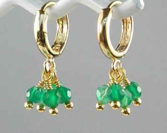 Green Onyx Gold Hoop Earrings Petite Flirty