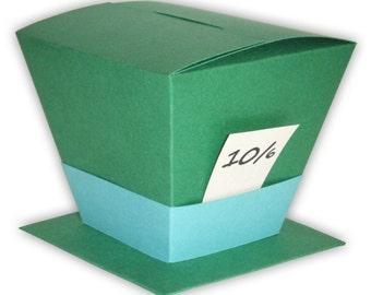 Alice in Wonderland Mad Hatter Hat Favor Gift Box Printable Color Template Digital PDF (custom colors available)
