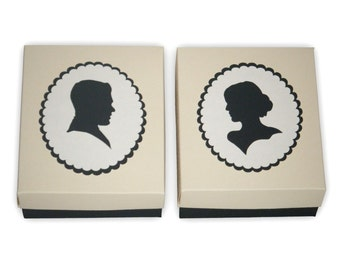 Pair of Large Cameo Style Silhouette Gift Boxes Printable Color Templates Digital PDF (custom colors available)