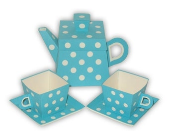 Polka Dot Teapot Favor Box and Small Teacups Set Printable Color Template Digital PDF (custom colors available)