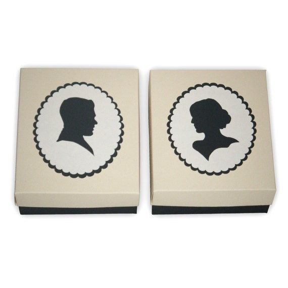 pair of large cameo style silhouette gift boxes printable. Black Bedroom Furniture Sets. Home Design Ideas