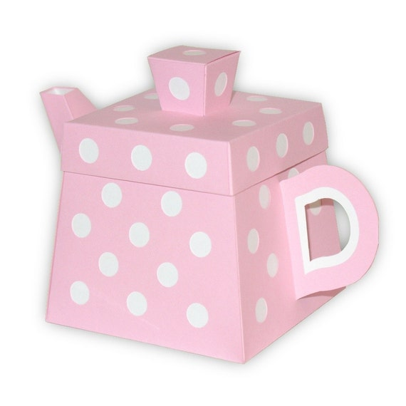 Polka dot teapot favor gift box printable color template like this item negle Images
