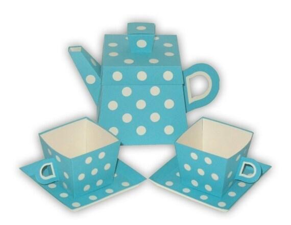 Polka Dot Teapot Favor Box and Small Teacups Set Printable Color Template Digital PDF (custom colors available)