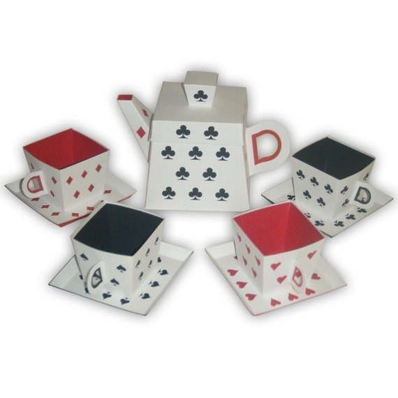 Alice in Wonderland  Playing Cards Inspired Tea Party Set (custom colors available)