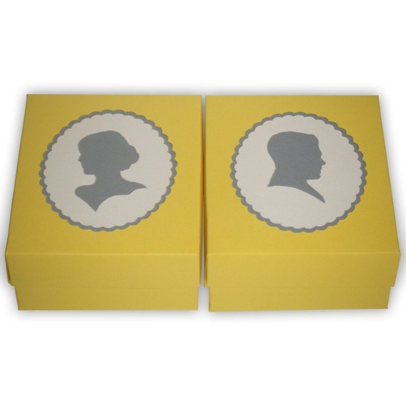 Reserved Large Cameo Style Silhouette Gift Boxes (custom colors available)