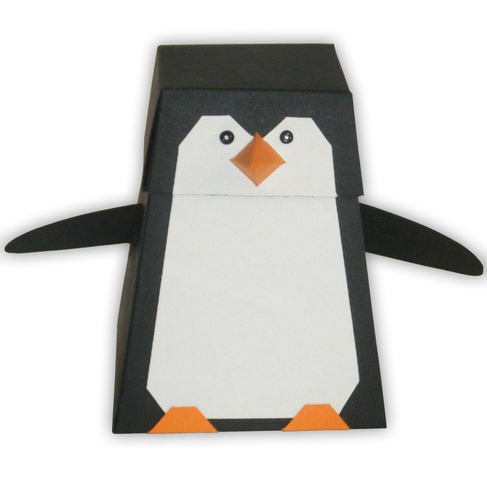 Penguin Digital PDF Favor Gift Box Printable Color Template – Penguin Template