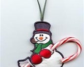 Snowman Candy Cane or Pencil Holder Ornament