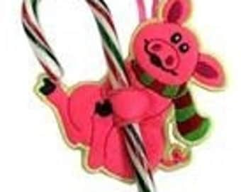 Hungry Pig Candy Cane or Pencil Holder Ornament