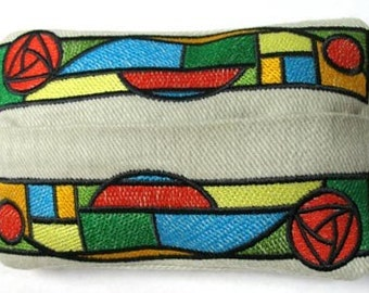 Stained Glass Embroidered Tissue Holder