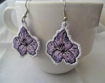 Purple Posey Charm Earrings - Machine Embroidered