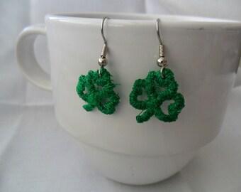 Green Shamrock Charm Earrings - Machine Embroidered