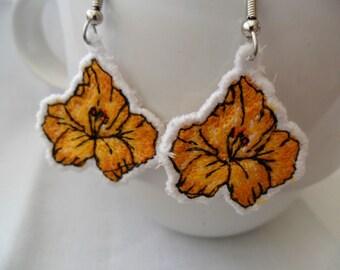 Orange Posey Charm Earrings - Machine Embroidered