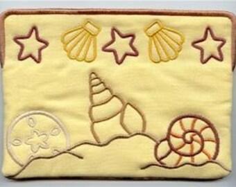 Stylized Seashells Embroidered Eyeglass Case