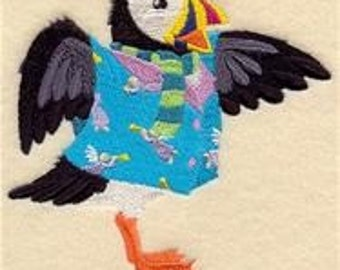 12 x 12 Hemstitched Embroidered Pillowcase - Petey Puffin in Pajamas