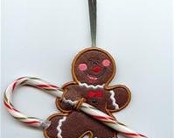Gingerbread Man Candy Cane or Pencil Holder Ornament