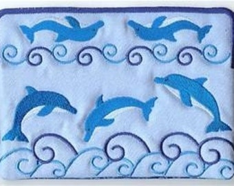 Dolphins and Waves Embroidered Eye Glass Case