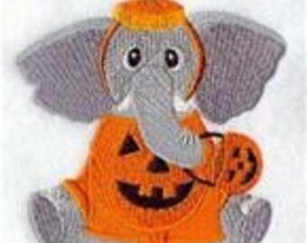 12 x 12 Hemstitched Pillowcase - Halloween Elephant in Pajamas