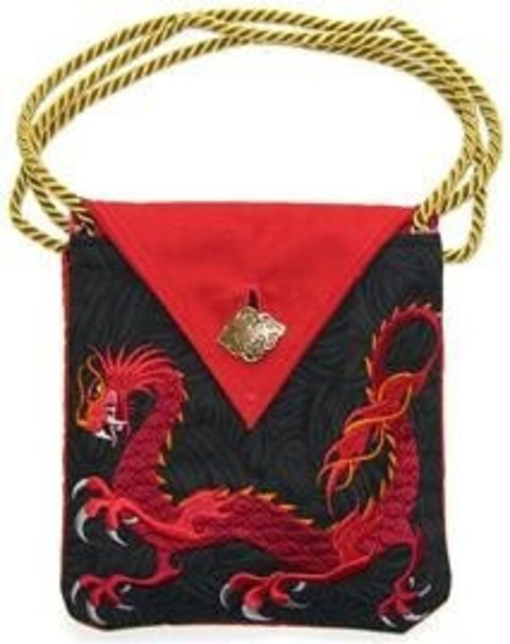 Asian Dragon Embroidered Purse