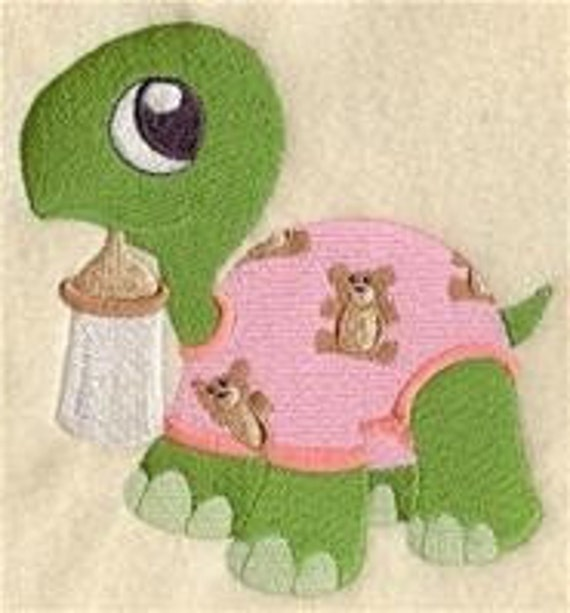 12 x 12 Hemstitched Embroidered Pillowcase - Turtle in Pajamas
