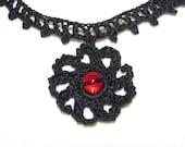 Modified Railroad Choker Necklace - Vampire Red Sun Motif - Fine Crochet Jewelry - Aberrant Crochet Original Design