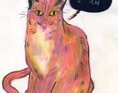 Here I Am (original cat drawing, 2012)