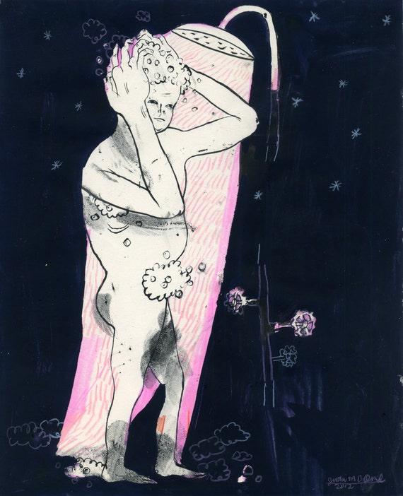 Night Shower (original drawing, 2012)