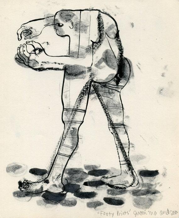Footy Prints (original drawing, 2012)