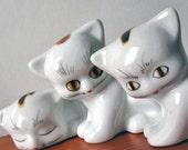 3 Cute Vintage Ceramic Cat Figurines