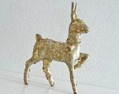 Reindeer Figurine Gold Glittered Vintage Christmas