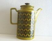 Vintage Teapot Mid Century Mod Deco Olive Green Ceramic