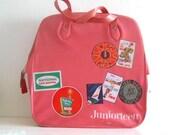 Vintage Vinyl Tote Bag JuniorTeen Pink 1960s Travel Decals