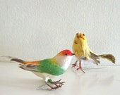 2 Vintage Feathered Spun Cotton Bird Ornaments