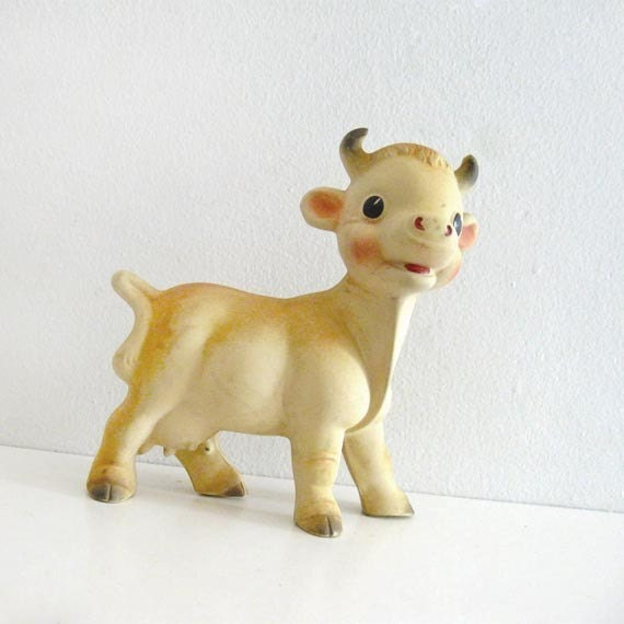 Vintage Squeaky Toy 1950s Rempel Milk Cow