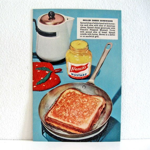"Magnet Vintage Food Advertisement French Mustard Cheese Sandwich Large 5"" x 7.5"""