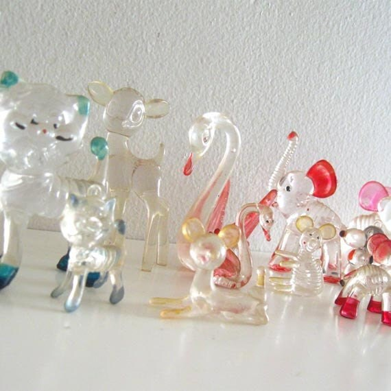 16 Vintage Animal Figurines Menagerie Clear Lucite Hard