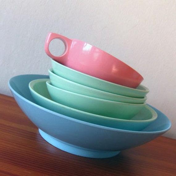 6 vintage melamine dish set pastel boontonware - Miffy lamp usa ...