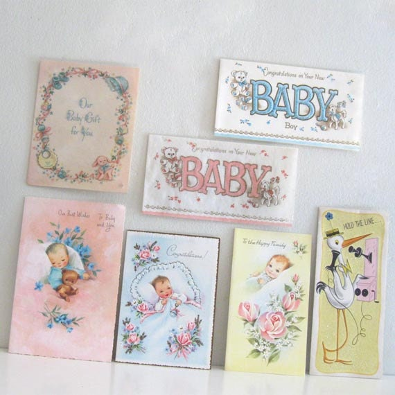 7 Vintage New Baby Cards Congratulations Unused  Lot