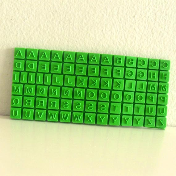 Alphabet Letter Stamp Set Rubber Sheet 80 Mini Stamps