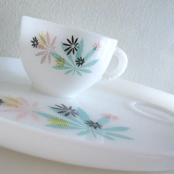 Vintage Milk Glass Snack Plate with Cup 1950s Atomic Mod - RESERVED FOR CHLOE