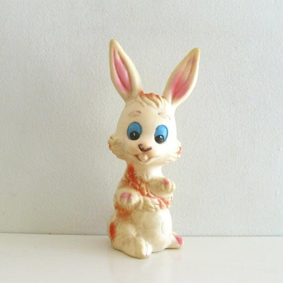 Tall Vintage Squeaky Rubber Toy Bunny Rabbit Jugasa