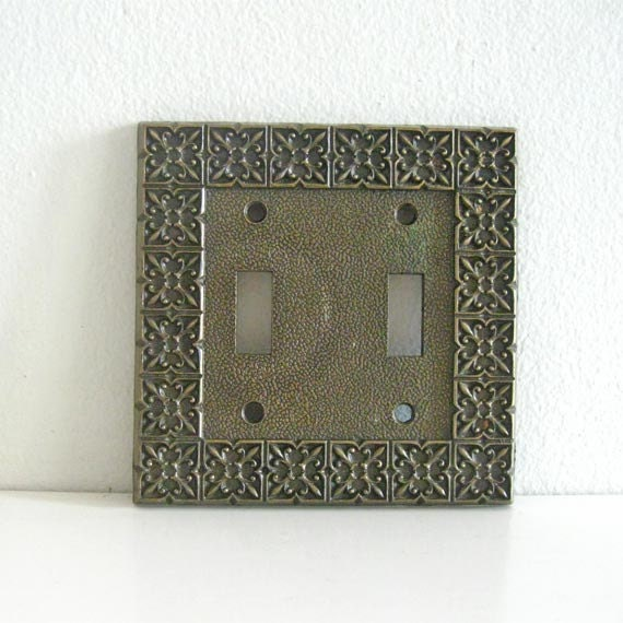 Vintage Light Switch Cover Plate Brass Double National Lock
