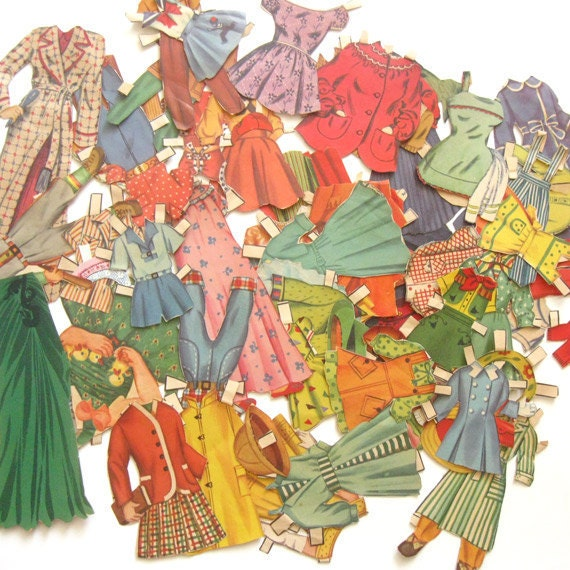 Huge Lot Old Vintage Paper Doll Clothes 170 Pieces