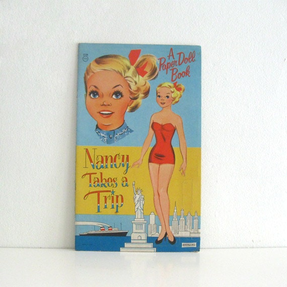 Vintage Paper Doll Book Nancy and Becky Take a Trip Rare Saalfield Uncut