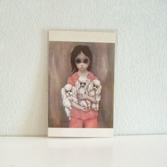 Vintage Keane Big Eyed Art Postcard 1960s Unused Bedtime
