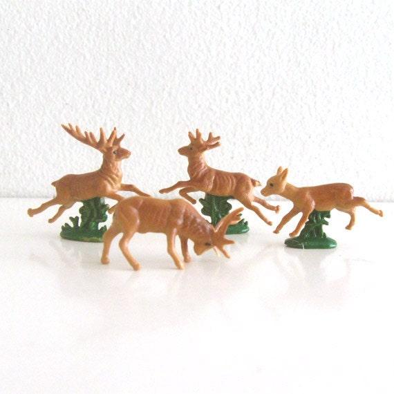4 Vintage Miniature Deer and Reindeer Figurines Plastic Animals