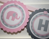 Elephant Birthday Banner / Pink Elephant Birthday Banner / Pink Elephant Banner / Elephant Banner / Elephant Birthday Party /Elephant Shower