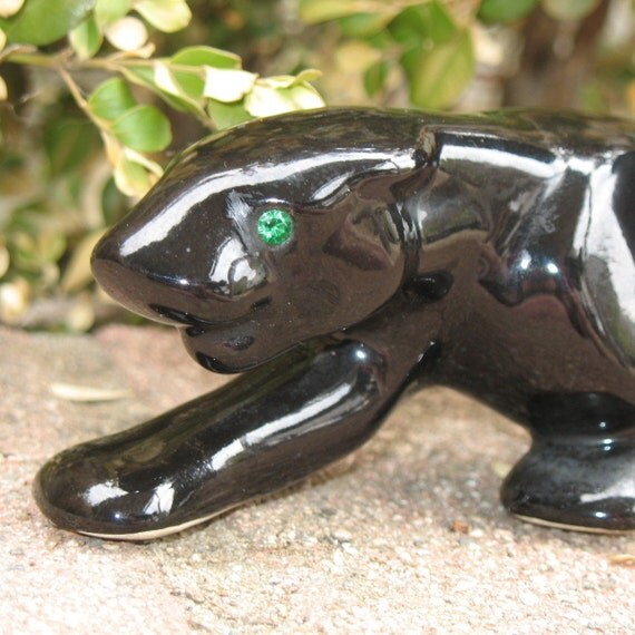 Vintage art deco black panther ceramic with by deesdragonsden - Ceramic black panther statue ...
